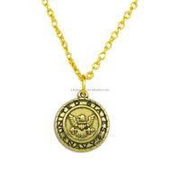 Fashion Wholesale Antique Bronze United State Navy Medal Pendant Necklace