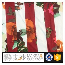 floral printed dress fabric wholesale,Shaoxing supplier stripe printed micro fiber knitting fabric