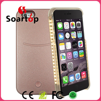 LED selfie light up leather phone case with power bank function