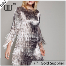 Sparkle and shining eye-catching metallic fringe cascading mauve dress