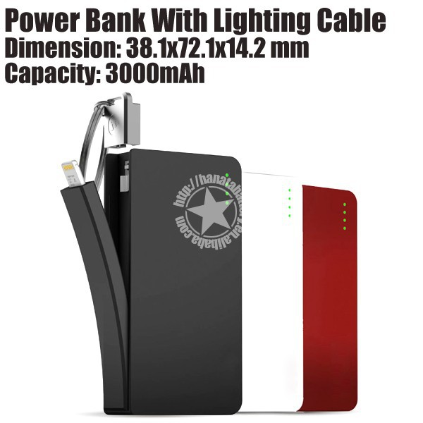Pocket Charger Power Bank with Keyring with i5i6 Cable for Mobile Phones Made in China