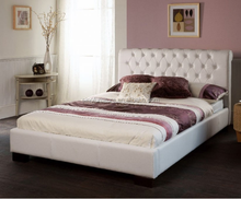 2017 latest white leather bed design bed room <strong>furniture</strong> with thick back