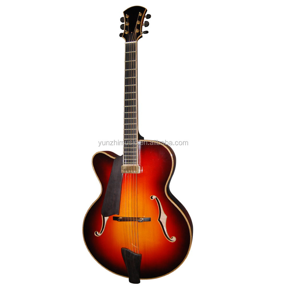 17inch handmade solid maple wood left handed archtop jazz guitar