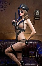 Lustful sheer sexy leather police custome girl costume leather chain lingerie