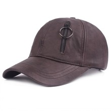 Hot Selling promotional baseball cap for men leather caps with zipper plain cap