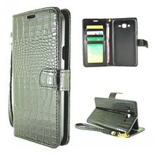 Crocodile Pattern Wallet Leather Case for Samsung Galaxy J7 Magnetic Flip Stand PC + PU Holster