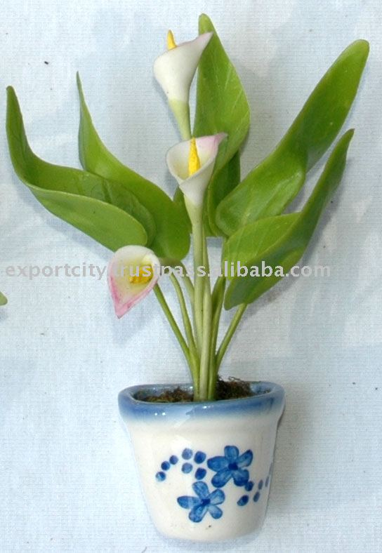 Artificial Flower And Orchids Clay Magnet Cala Lily