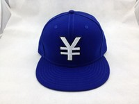 Blue Flexfit Puff embroidery Flat bill Baseball cap made of Spandex For Hip Hop
