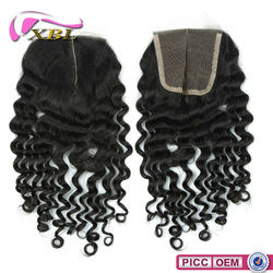 Wholesale Indian Human Hair Straight High Quality 100% Virgin Brazilian Deep Wave Lace Closure