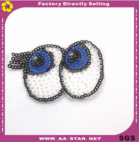 2015 fashion eyes sequin badges/ sequin patch embroidery hotfix epaulet