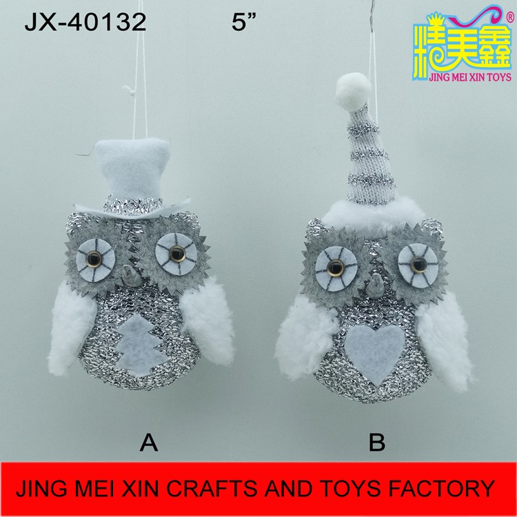 Hot sale silver white stuffed owl animal chirstmas tree hanging ornament 2016