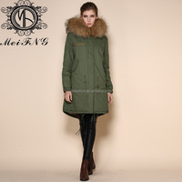 whole new band winter fur hooded army green down parkas for women