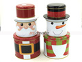 Christmas Santa Claus Snowman Shaped Tin Can with Three Layers