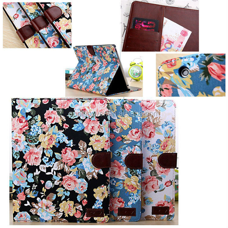 Flower leather case for iPad 2/3/4,for ipad 2/3/4 leather case with stand