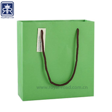 17100805 Apple green color printing paper bag with handle