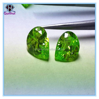 2016 Beautiful Pear Shaped apple green cubic zirconia stone
