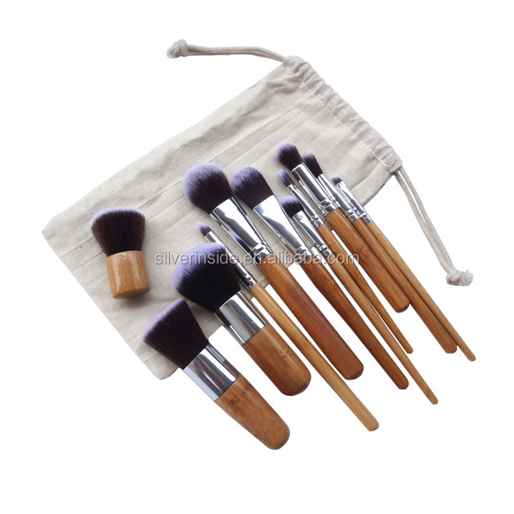11 Pieces Hair Brush Set Professional Bamboo Handle Premium Synthetic Kabuki Foundation Blending Blush Concealer Eye <strong>Face</strong>