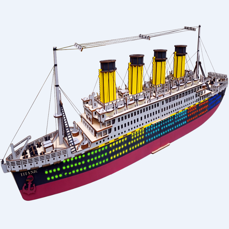 High Quality Wholesale 3D wooden puzzle Titanic Ship Craft for Home Decoration, custom jigsaw wooden puzzle