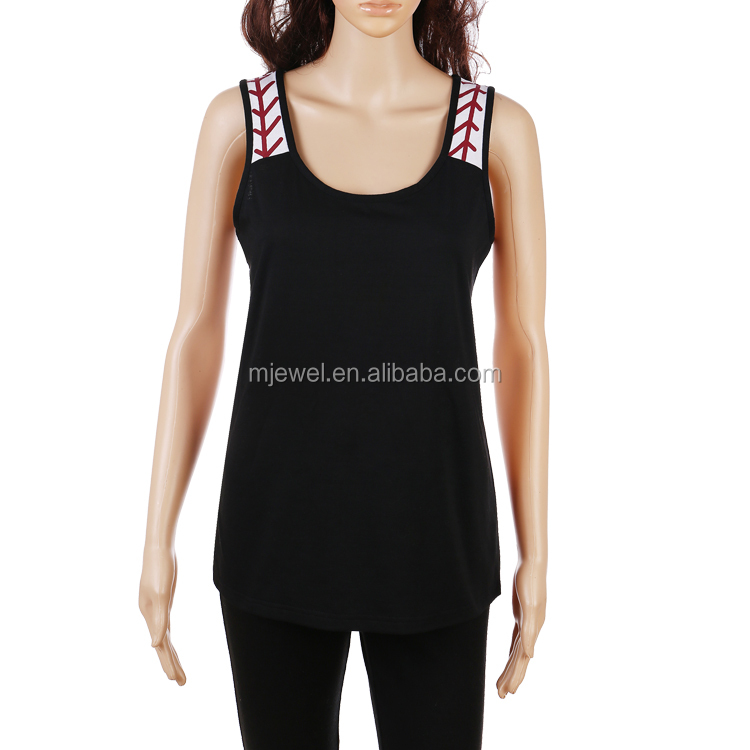 Hot sale women vest sleeveless baseball tank top wholesale