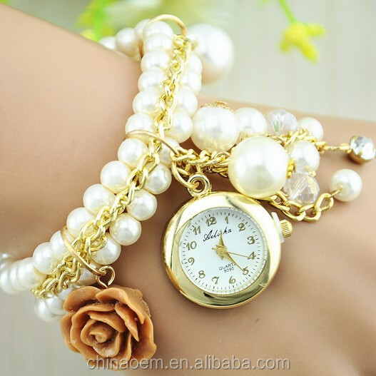 2014 New Design Women Pendant Watches Analog Fake Pearl Bracelet Watch Fashion Charms quartz Wrist lady Watch women