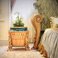 Latest Italy Bedroom Furniture Wooden Carved Nightstand Table/ New Classic Gorgeous Bedside Table