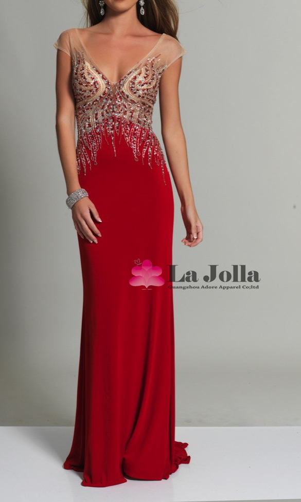 Gorgeous Color Beads Rhinestone Satin Long Red Evening Dress Short Sleeves Sexy Low-Cut Backless Evening Gown For Lady