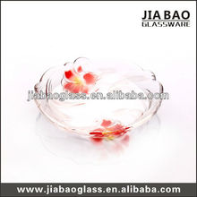 Beautiful 6 inch cheap color decorative glass plate clear glass plates with red lily flower design