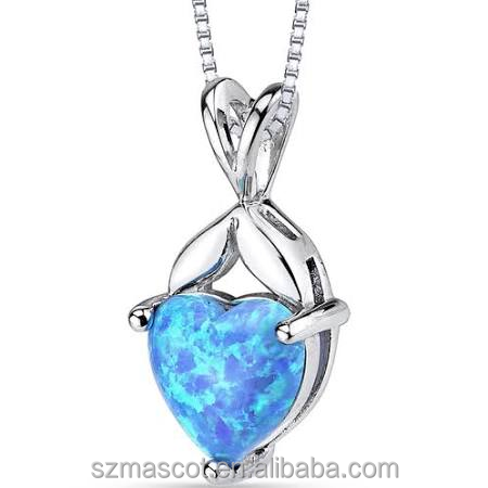 Sterling Silver 925 Rhodium Plating Shaped Heart Opal Necklace Jewelry