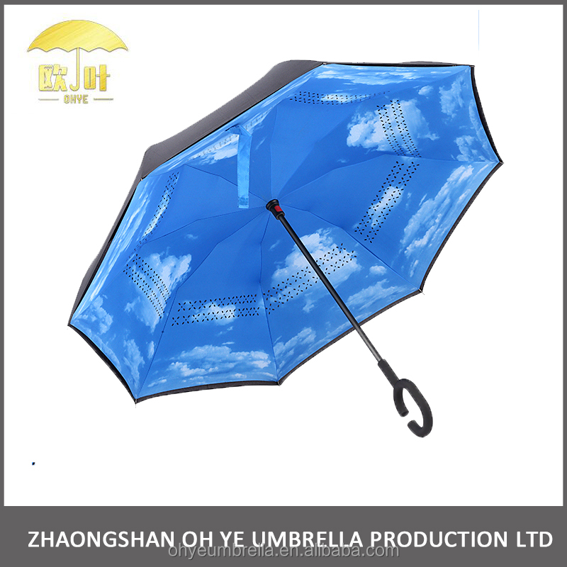 Hot sell innovative self stand long handle reverse anti drip umbrella