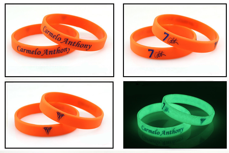 Silicone glow in the dark wristband bracelet with custom logo