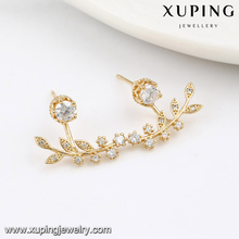 92221-Xuping Gold plated korea style leaf shape earrings for ladies