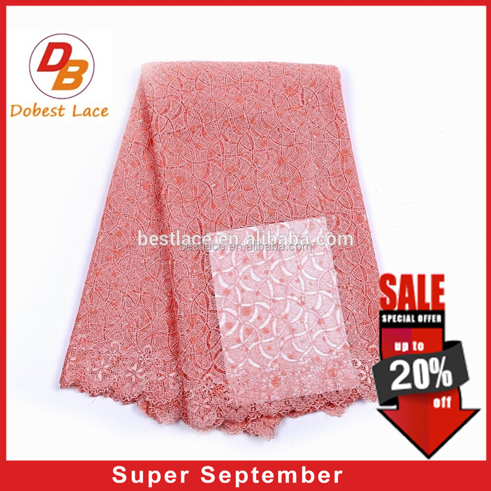 New arrival polyester french embroidery peach sequin lace fabric for wedding dress