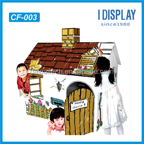 cardboard playhouses for kids, children painting house, kid diy playhouse