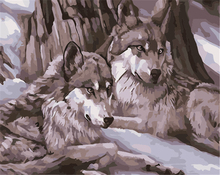 New Arrival Paintboy Waiting Wolf Pattern Canvas Printing Diy Oil Painting By Numbers For Wall Art