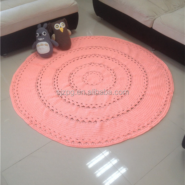 Crochet Floor Coral Round Bedroom Mat Rug