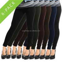 6pk Fleece-Lined Leggings Opaque Footless Winter Warm Adult One Size Stretch