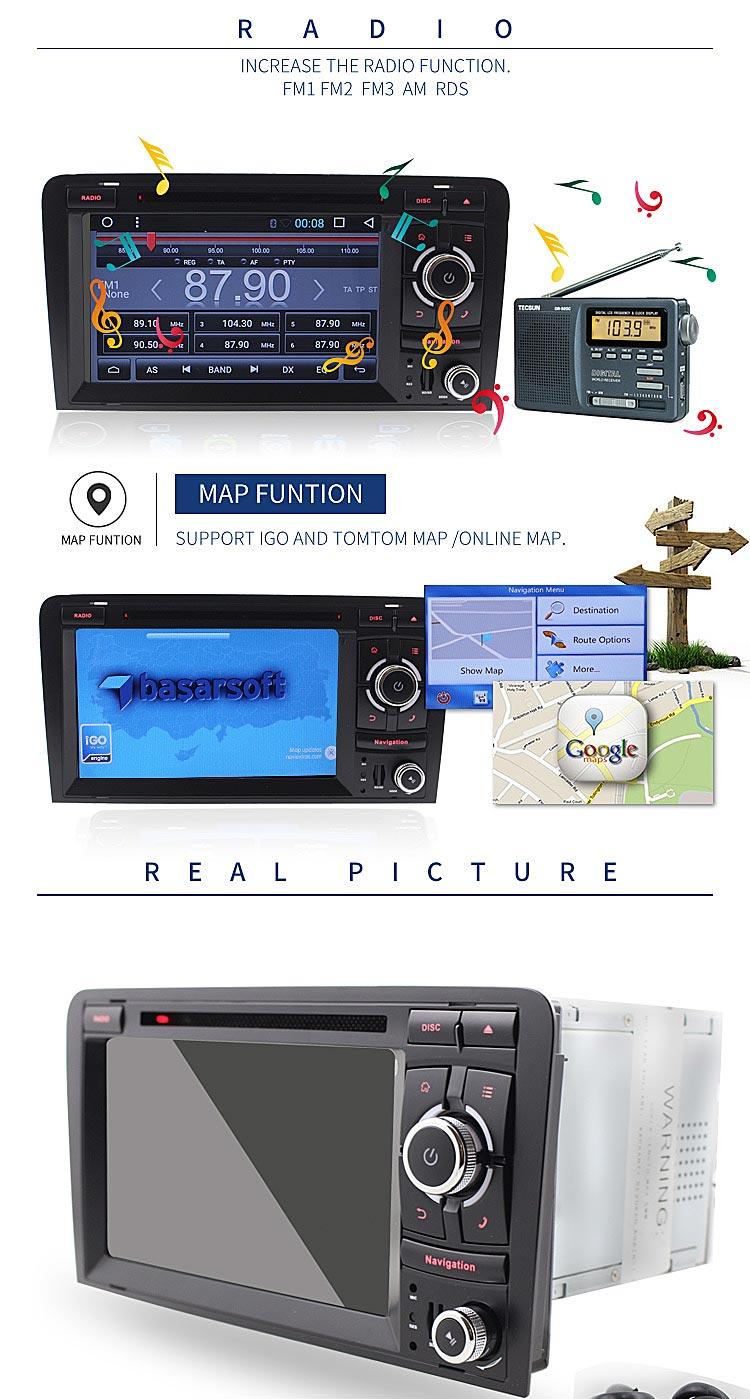 car multimedia system gps android car radio with gps navigation for au di a3 dvd player