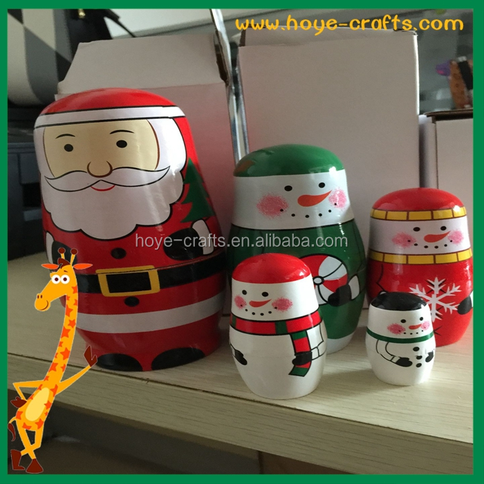 wholesale christmas nesting doll wooden father christmas Matryoshka doll