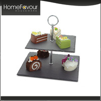 Market Oriented Factory LFGB Passed Slate Stone Cake Stands For Wedding Cakes