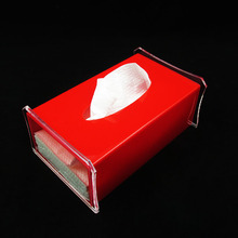 Red color acrylic tissue paper box for hotel