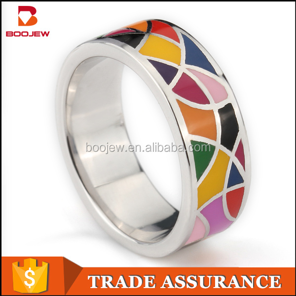 2015 Top selling products gold plated simple fancy designs jewellry without stone changing color enamel mood ring