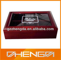 Guangzhou Factory Customized Made High Quality Wooden Tea Box With Glass Top