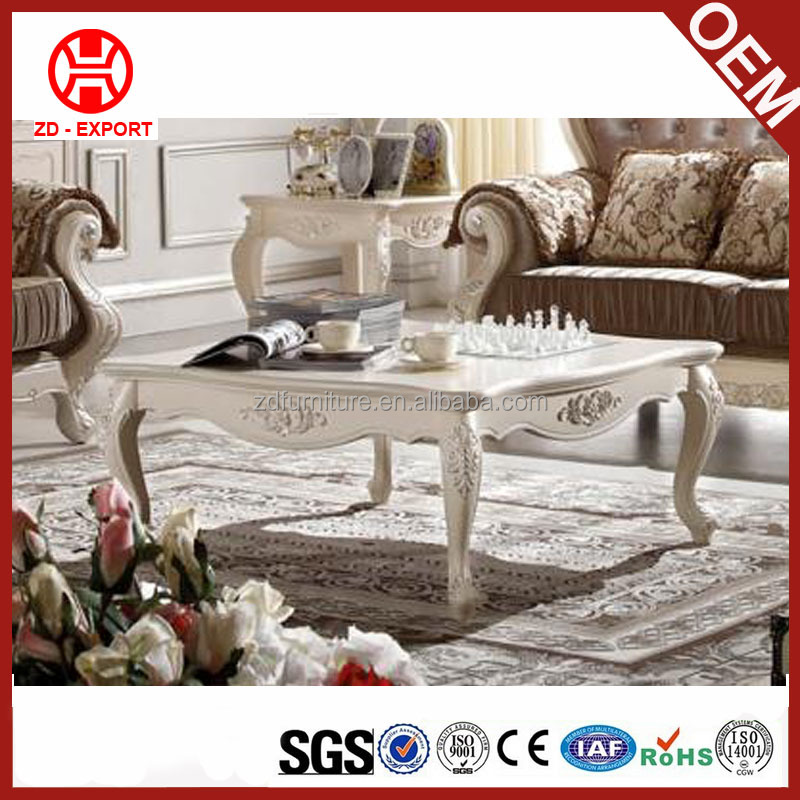 New arrival european style carved square table wooden tea table design