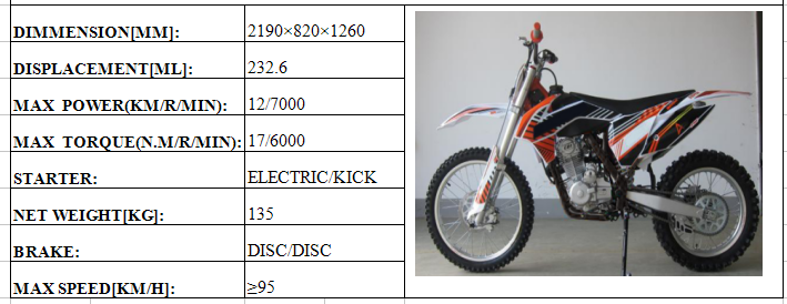 Chinese motorcycle sale 250cc dirt bike for sale ZF250-K