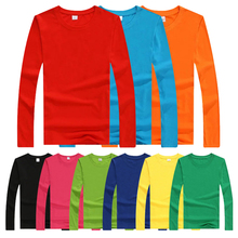 Custom Logo Colorful Round Neck Mens Pure Cotton Long Sleeve Plain T Shirt