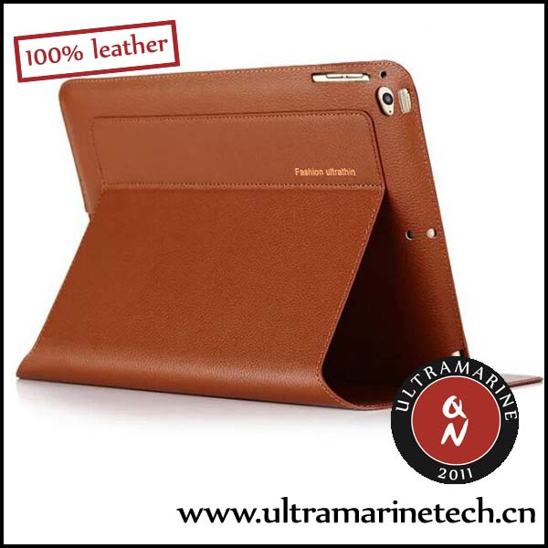 Ultramarine Super Slim Business Folding Stand Real Leather Case For iPad Mini 2 3