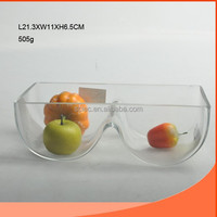 CLEAR GLASS BOWL WITH TWO GRID FOR FRUIT SALAD
