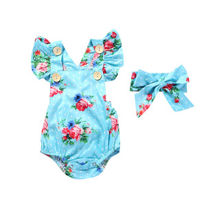 Wholesale Baby Romper + Baby Hairband Lace Soft Baby Cotton Romper