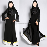 fashion black sheer chiffon kaftan jilbab latest abaya designs 2014 dubai