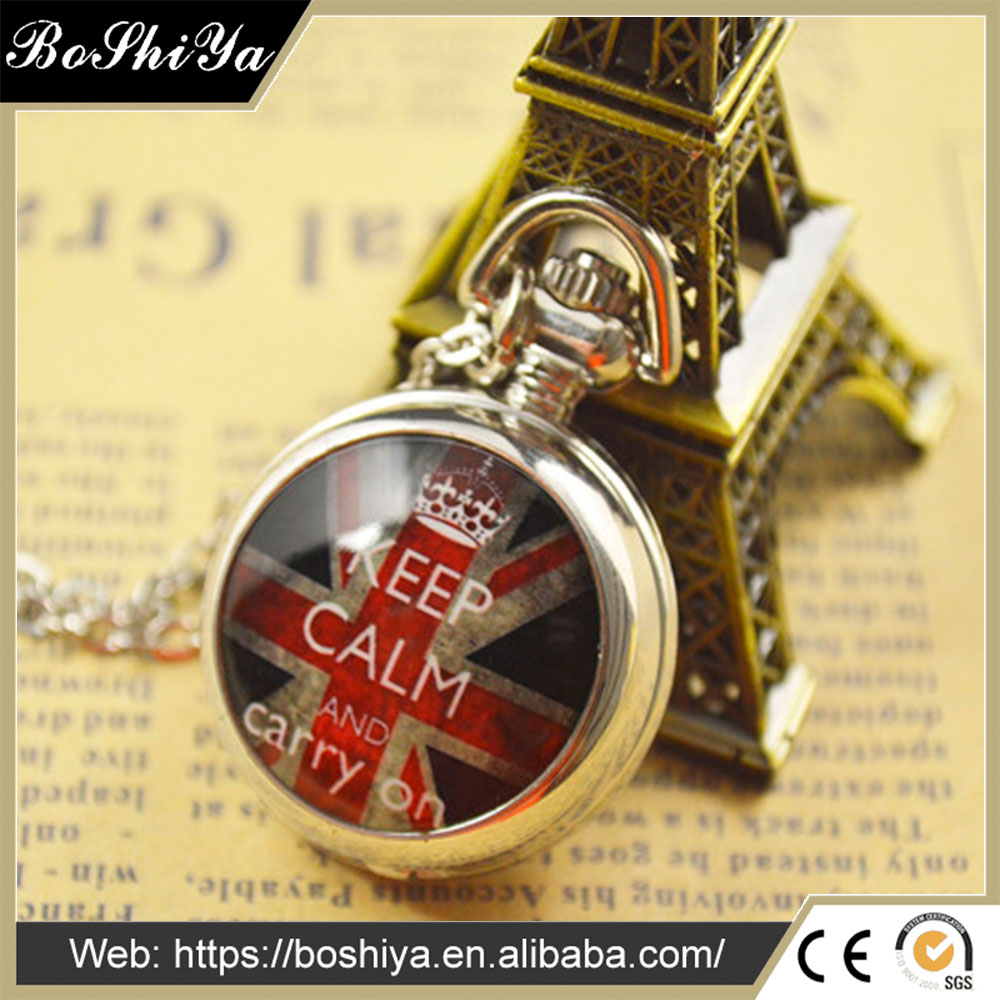 BoShiYa Vintage Small Personalized Photo pocket Watch with Necklace
